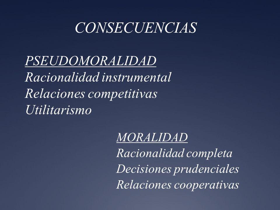 CONSECUENCIAS PSEUDOMORALIDAD Racionalidad instrumental Relaciones competitivas Utilitarismo.