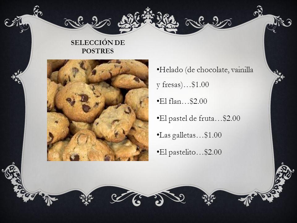 Helado (de chocolate, vainilla y fresas)…$1.00