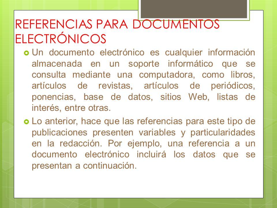 REFERENCIAS PARA DOCUMENTOS ELECTRÓNICOS