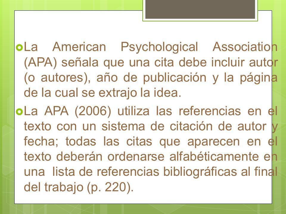 La American Psychological Association (APA) señala que una cita debe incluir autor (o autores), año de publicación y la página de la cual se extrajo la idea.