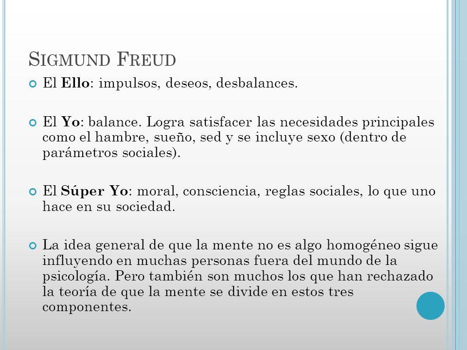 Sigmund Freud El Ello: impulsos, deseos, desbalances.