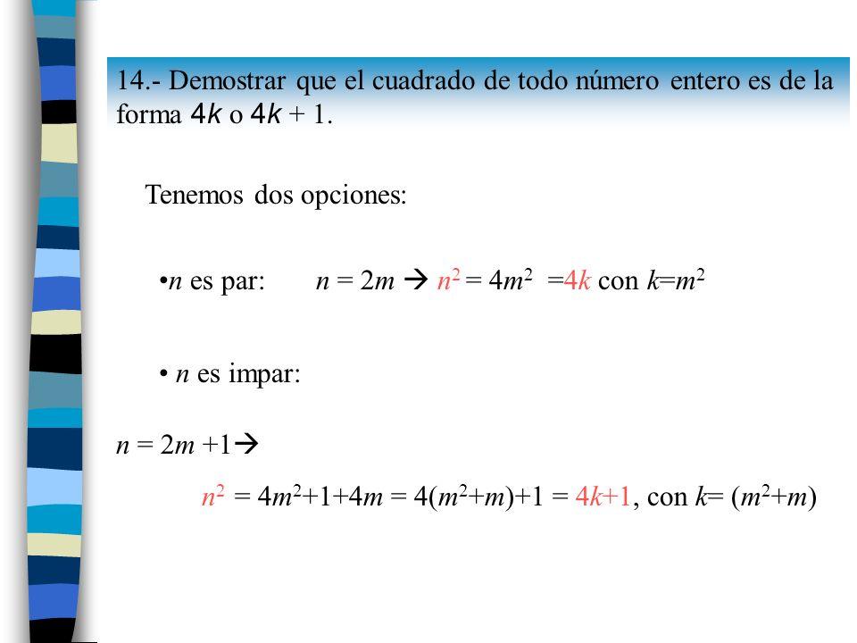 14.- Demostrar que el cuadrado de todo número entero es de la