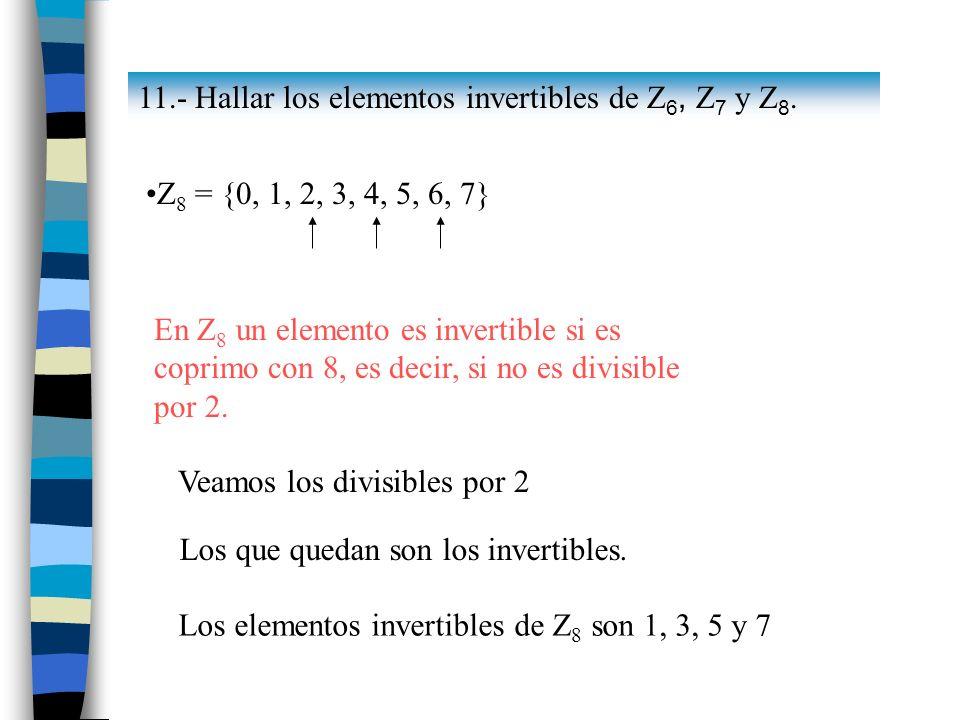 Los elementos invertibles de Z8 son 1, 3, 5 y 7