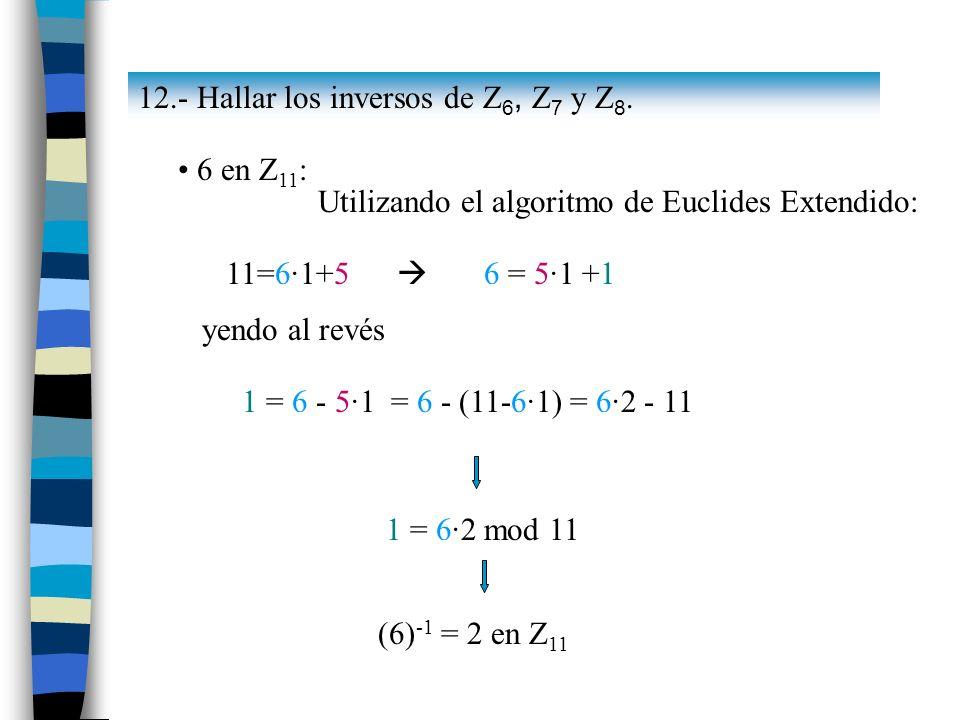 12.- Hallar los inversos de Z6, Z7 y Z8.