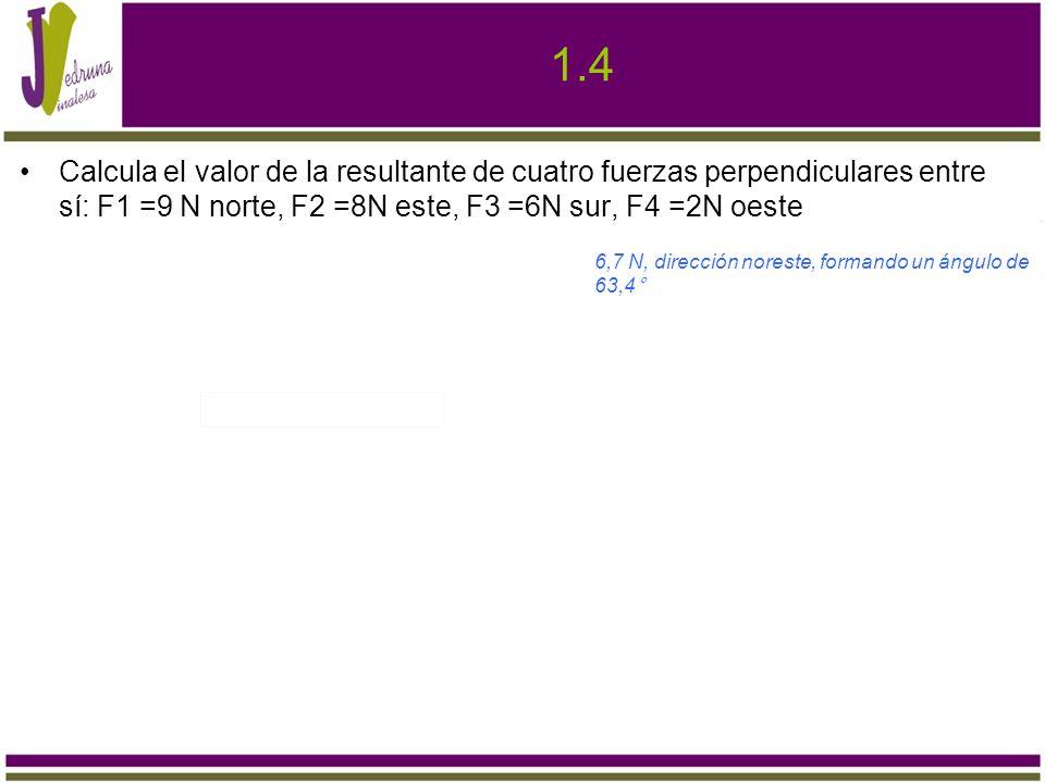 1.4 Calcula el valor de la resultante de cuatro fuerzas perpendiculares entre sí: F1 =9 N norte, F2 =8N este, F3 =6N sur, F4 =2N oeste.