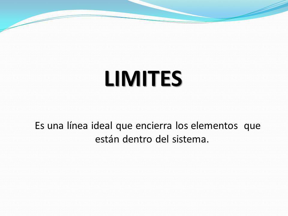 LIMITES Es una línea ideal que encierra los elementos que están dentro del sistema.