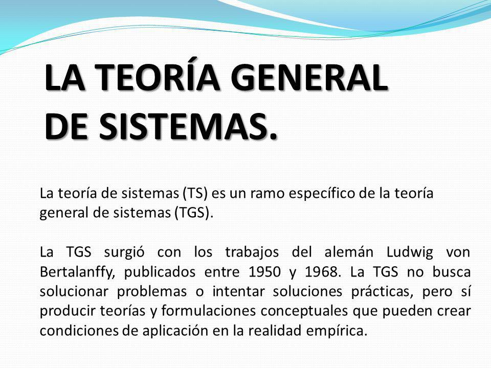 LA TEORÍA GENERAL DE SISTEMAS.