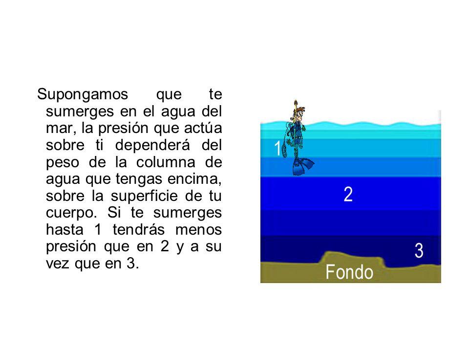 Supongamos que te sumerges en el agua del mar, la presión que actúa sobre ti dependerá del peso de la columna de agua que tengas encima, sobre la superficie de tu cuerpo. Si te sumerges hasta 1 tendrás menos presión que en 2 y a su vez que en 3.