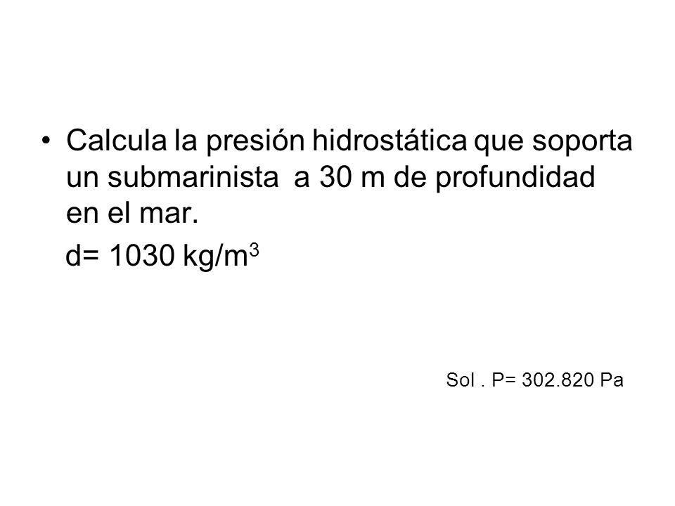 Calcula la presión hidrostática que soporta un submarinista a 30 m de profundidad en el mar.