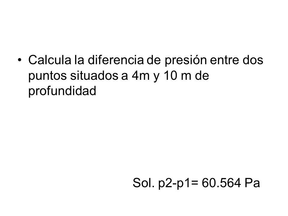 Calcula la diferencia de presión entre dos puntos situados a 4m y 10 m de profundidad
