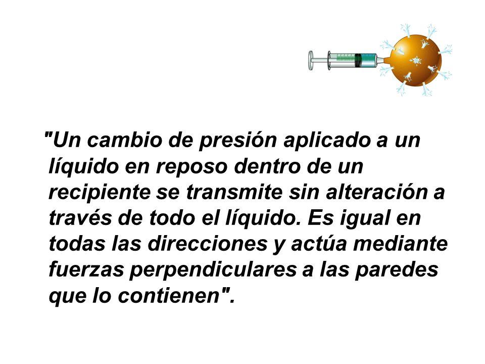 Un cambio de presión aplicado a un líquido en reposo dentro de un recipiente se transmite sin alteración a través de todo el líquido.