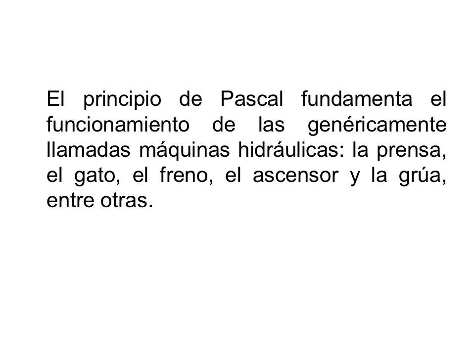 El principio de Pascal fundamenta el funcionamiento de las genéricamente llamadas máquinas hidráulicas: la prensa, el gato, el freno, el ascensor y la grúa, entre otras.