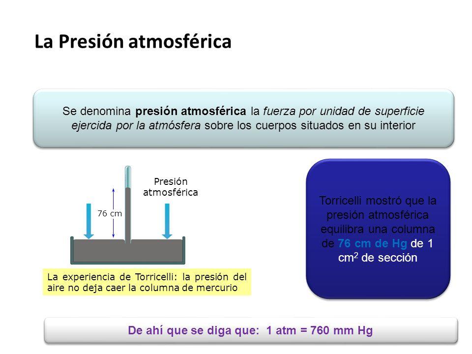 De ahí que se diga que: 1 atm = 760 mm Hg
