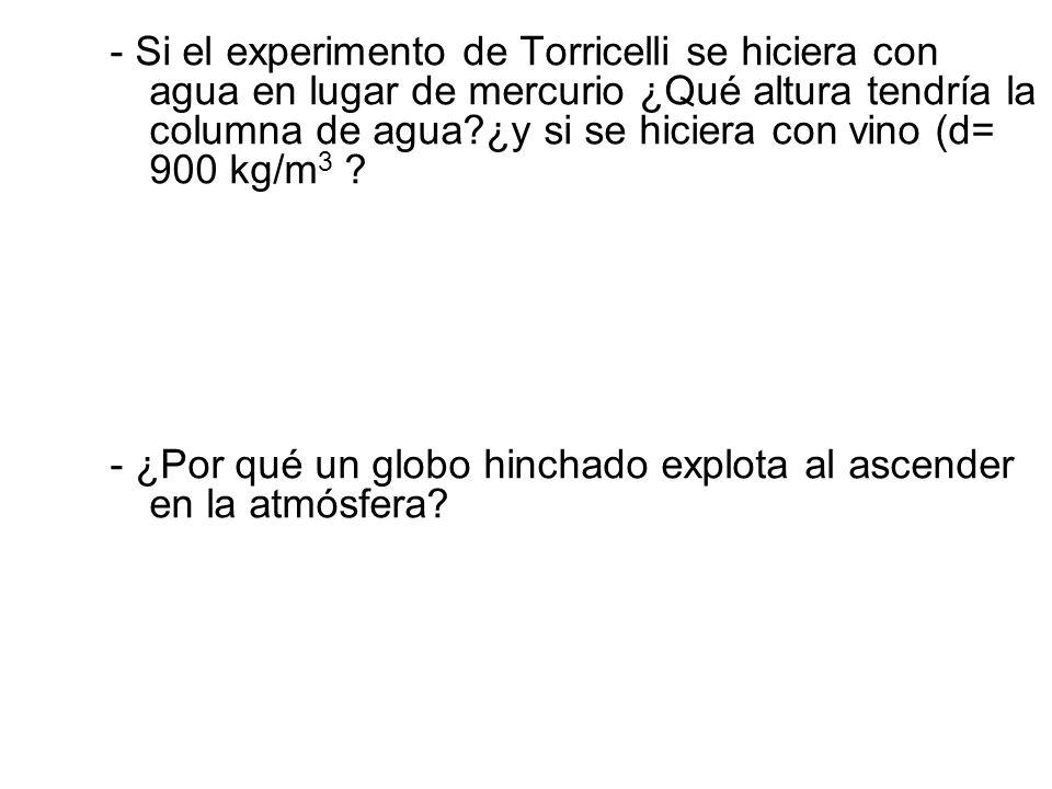- Si el experimento de Torricelli se hiciera con agua en lugar de mercurio ¿Qué altura tendría la columna de agua ¿y si se hiciera con vino (d= 900 kg/m3