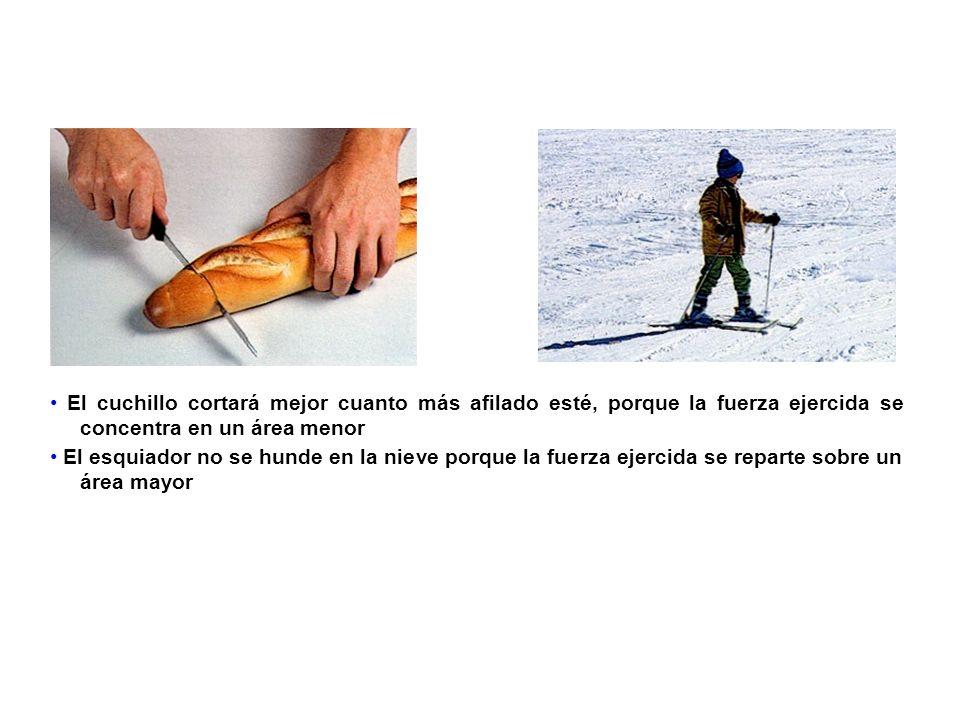 • El cuchillo cortará mejor cuanto más afilado esté, porque la fuerza ejercida se concentra en un área menor