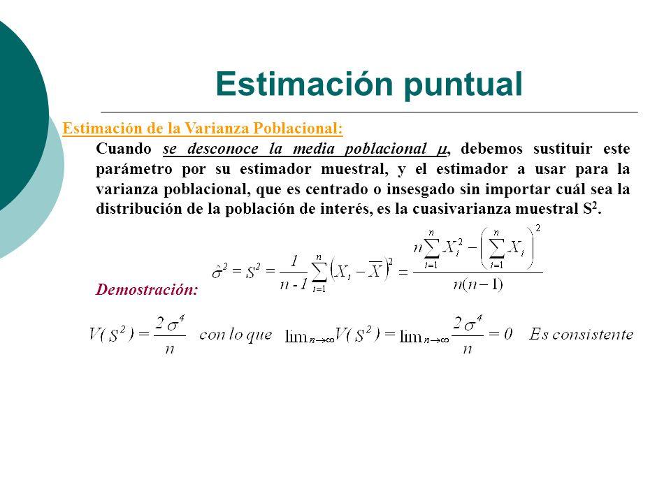 Estimación puntual Estimación de la Varianza Poblacional: