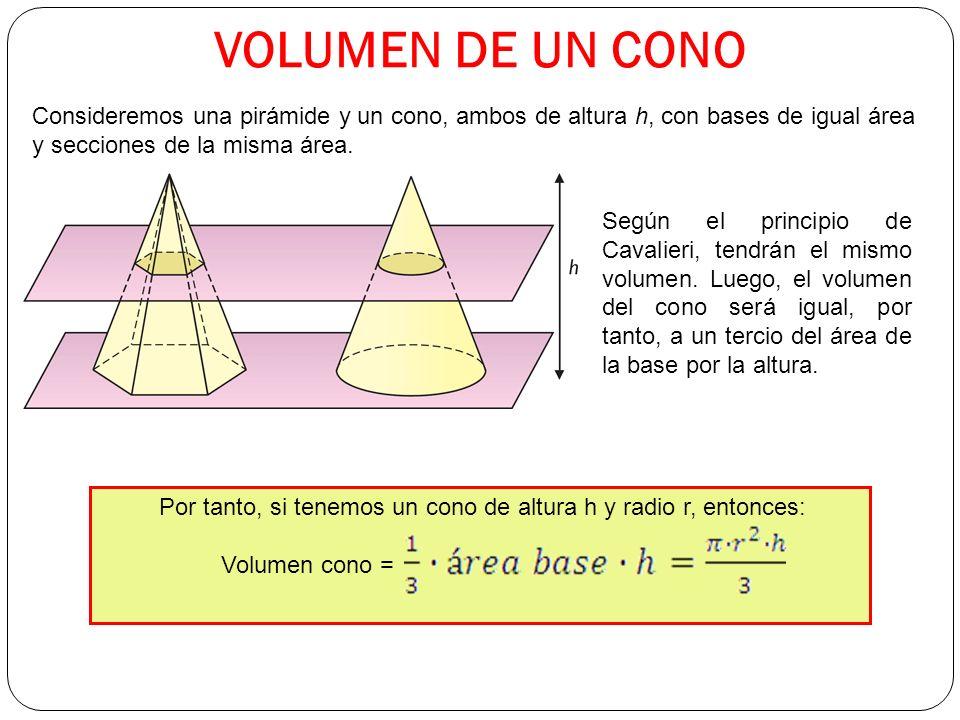 Por tanto, si tenemos un cono de altura h y radio r, entonces: