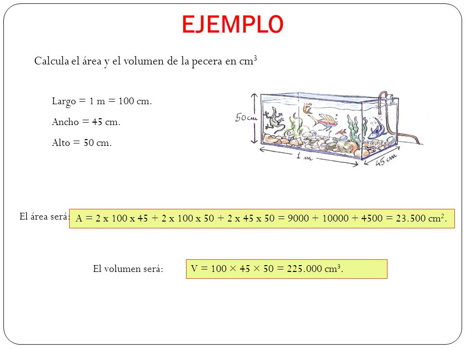 EJEMPLO Calcula el área y el volumen de la pecera en cm3