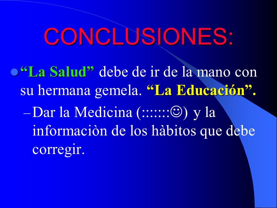 CONCLUSIONES: La Salud debe de ir de la mano con su hermana gemela. La Educación .