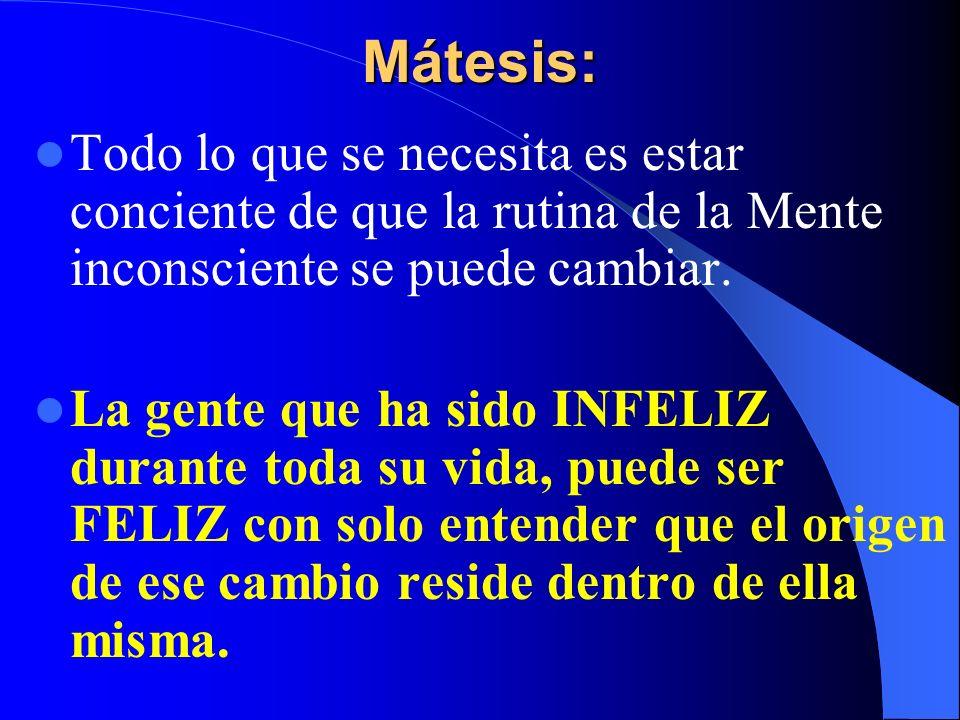 Mátesis: Todo lo que se necesita es estar conciente de que la rutina de la Mente inconsciente se puede cambiar.