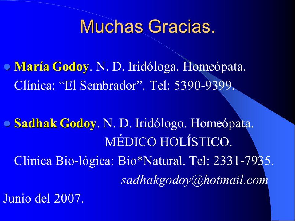Muchas Gracias. María Godoy. N. D. Iridóloga. Homeópata.