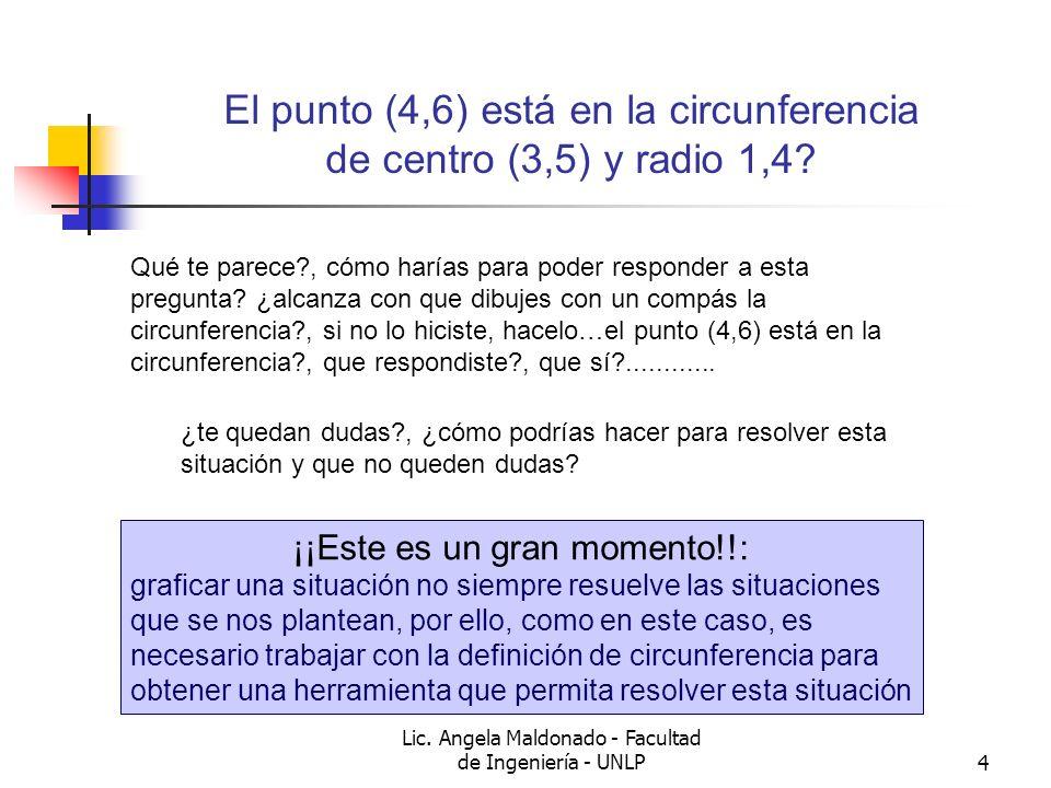 El punto (4,6) está en la circunferencia de centro (3,5) y radio 1,4