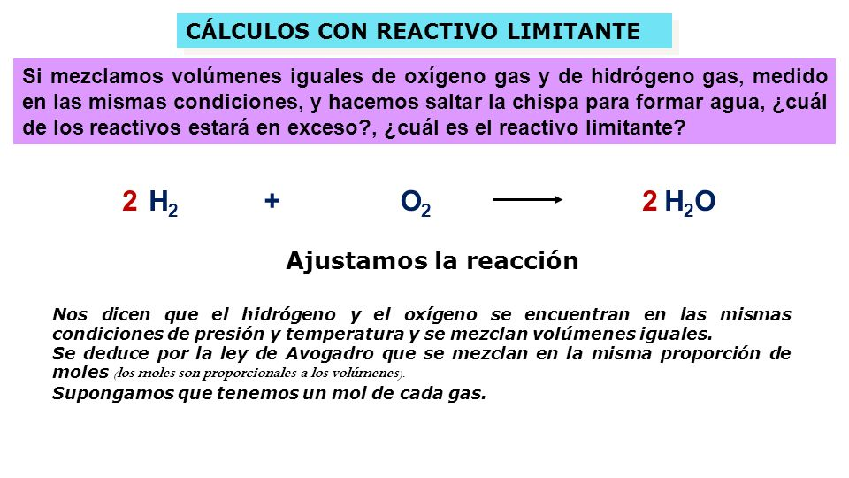 2 H2 + O2 2 H2O Ajustamos la reacción CÁLCULOS CON REACTIVO LIMITANTE