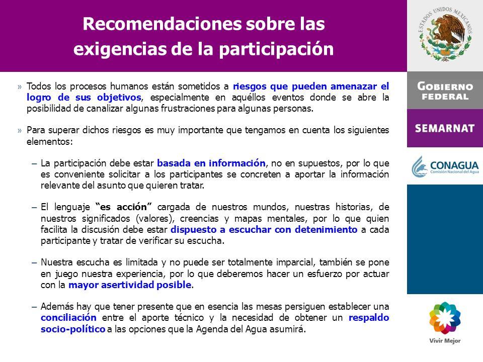 Recomendaciones sobre las exigencias de la participación