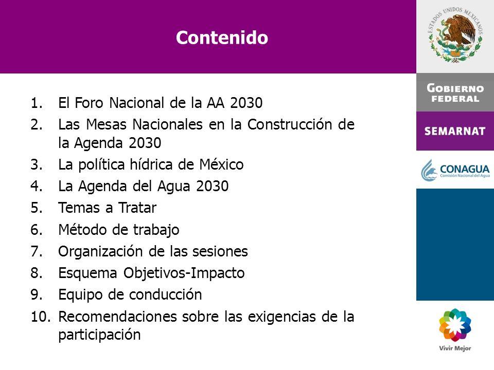 Contenido El Foro Nacional de la AA 2030