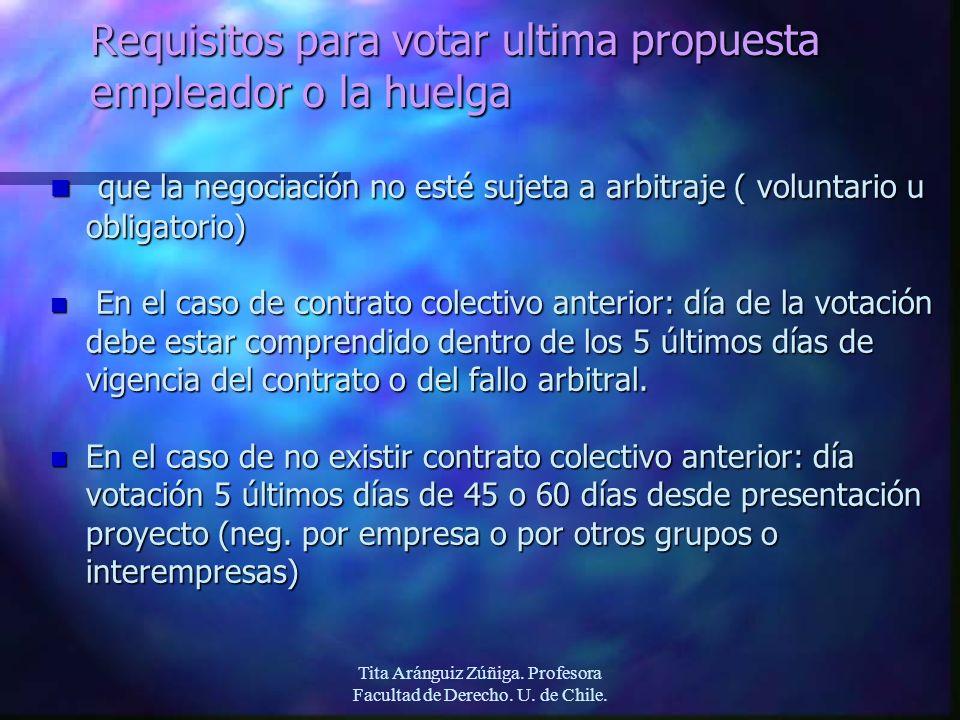 Requisitos para votar ultima propuesta empleador o la huelga