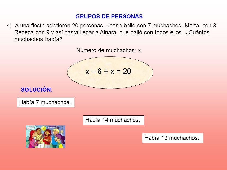 x – 6 + x = 20 GRUPOS DE PERSONAS