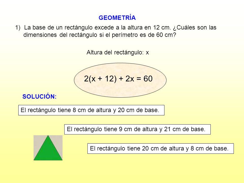 Altura del rectángulo: x