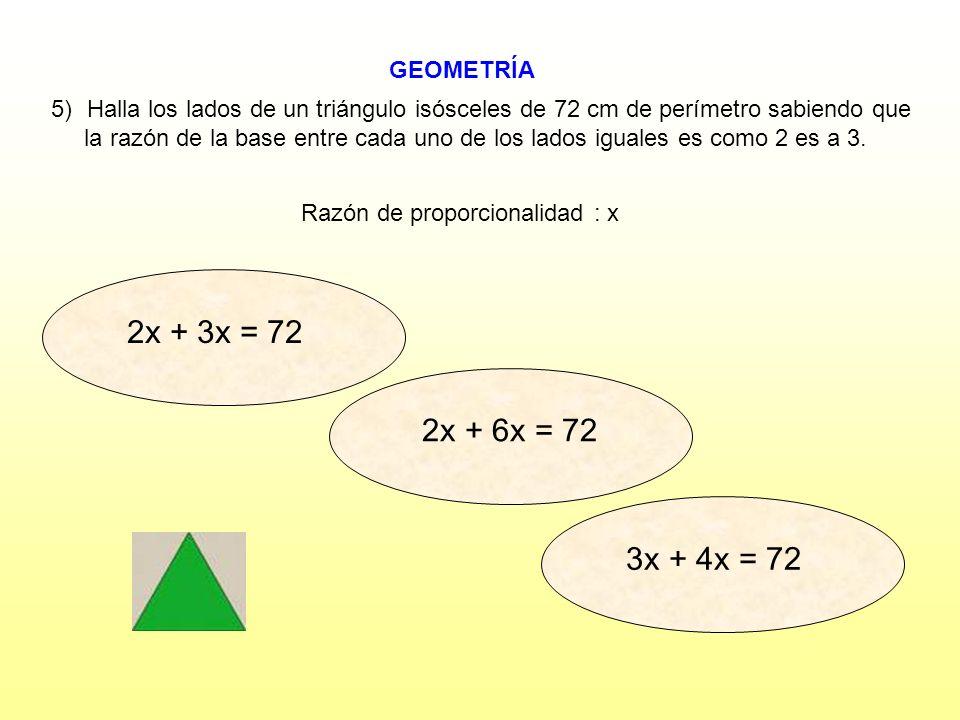 Razón de proporcionalidad : x