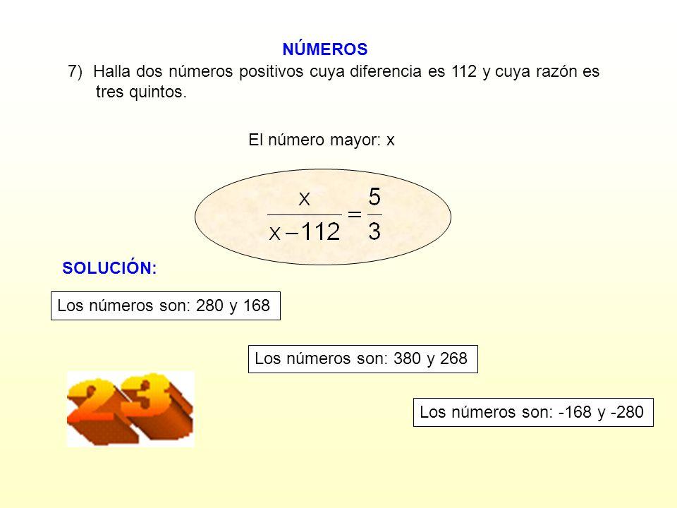 Halla dos números positivos cuya diferencia es 112 y cuya razón es