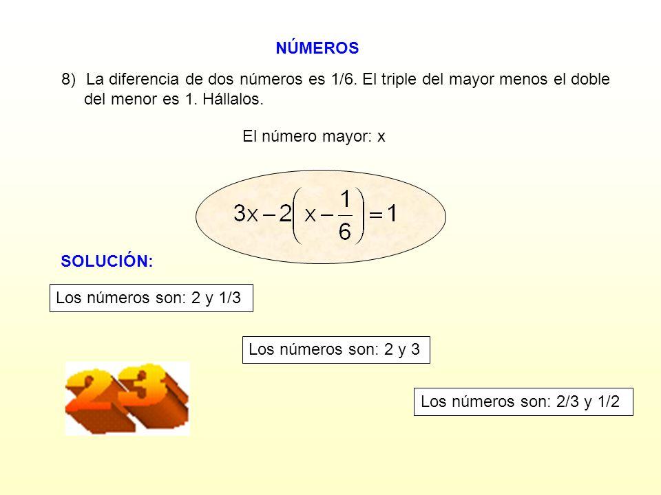 NÚMEROS La diferencia de dos números es 1/6. El triple del mayor menos el doble. del menor es 1. Hállalos.