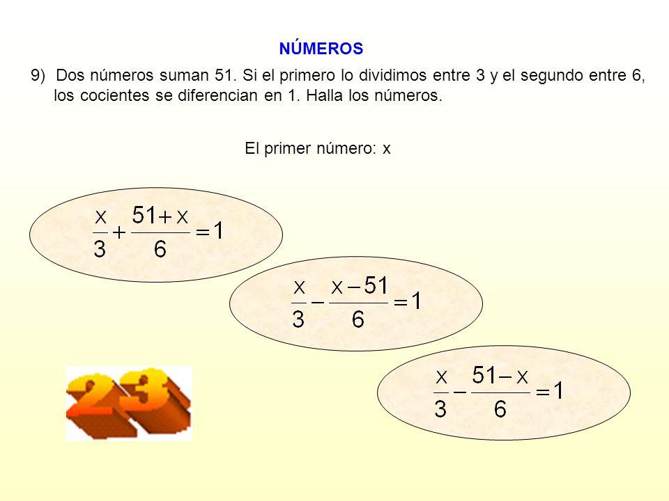 los cocientes se diferencian en 1. Halla los números.