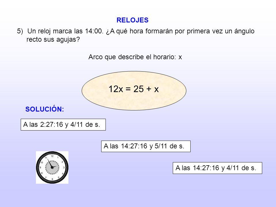 Arco que describe el horario: x