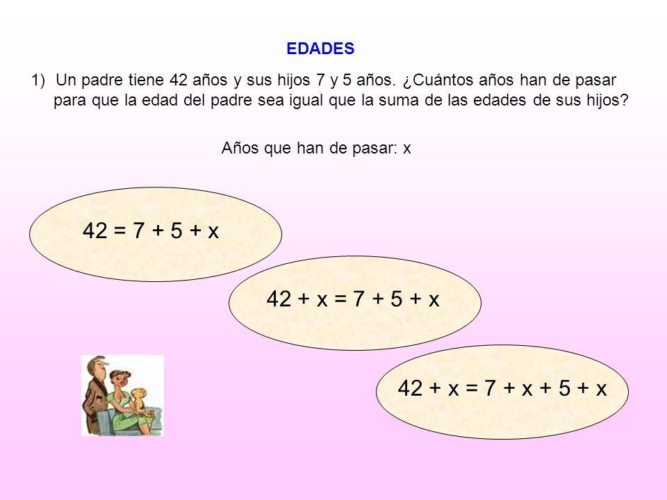 42 = 7 + 5 + x 42 + x = 7 + 5 + x 42 + x = 7 + x + 5 + x EDADES