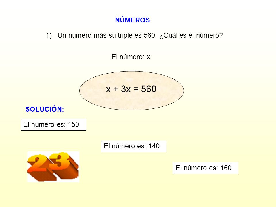 1) Un número más su triple es 560. ¿Cuál es el número