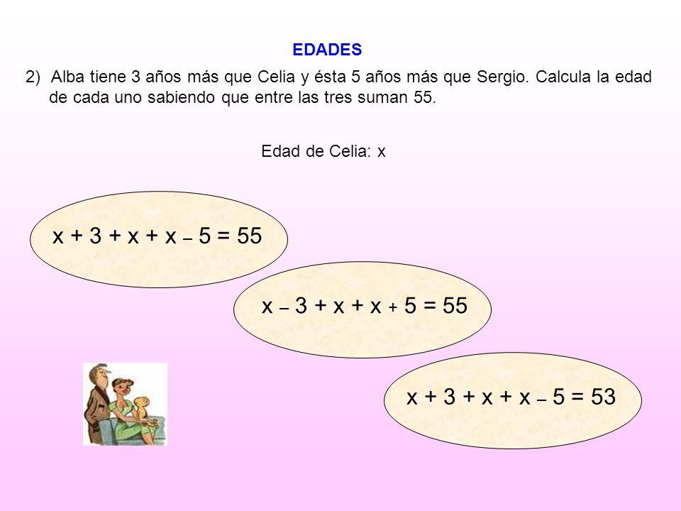 x + 3 + x + x – 5 = 55 x – 3 + x + x + 5 = 55 x + 3 + x + x – 5 = 53