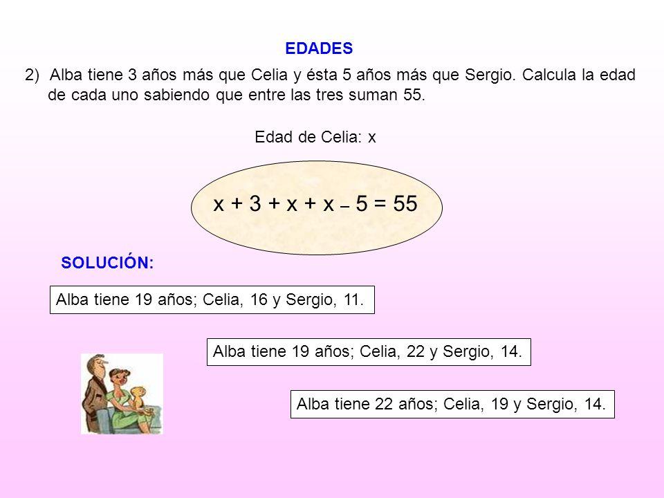EDADES Alba tiene 3 años más que Celia y ésta 5 años más que Sergio. Calcula la edad. de cada uno sabiendo que entre las tres suman 55.