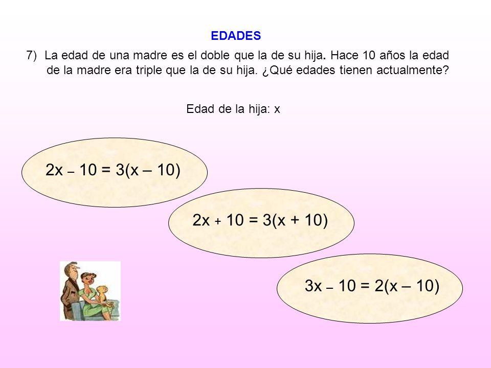 2x – 10 = 3(x – 10) 2x + 10 = 3(x + 10) 3x – 10 = 2(x – 10) EDADES