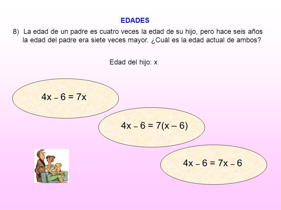 4x – 6 = 7x 4x – 6 = 7(x – 6) 4x – 6 = 7x – 6 EDADES