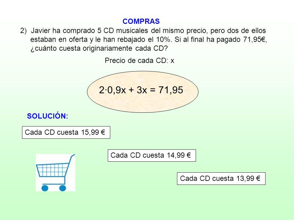 COMPRAS 2) Javier ha comprado 5 CD musicales del mismo precio, pero dos de ellos.