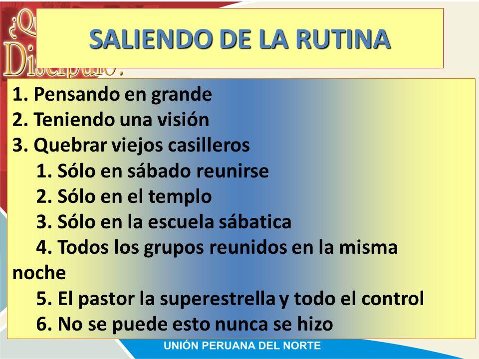 SALIENDO DE LA RUTINA 1. Pensando en grande 2. Teniendo una visión