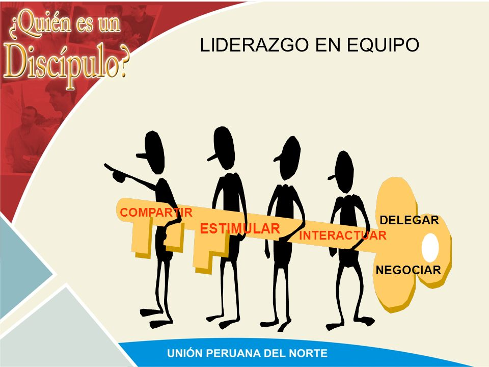 LIDERAZGO EN EQUIPO COMPARTIR DELEGAR ESTIMULAR INTERACTUAR NEGOCIAR