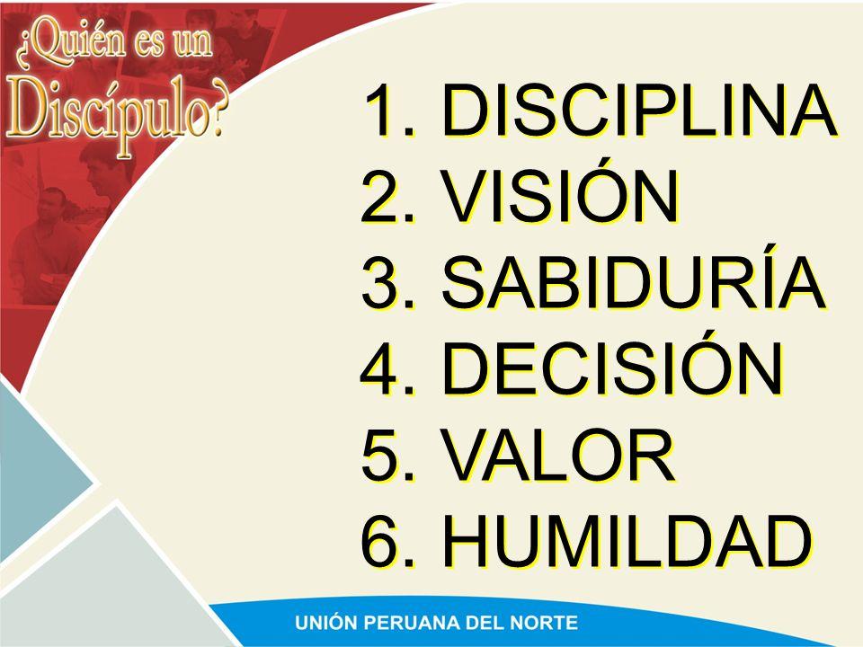 1. DISCIPLINA 2. VISIÓN 3. SABIDURÍA 4. DECISIÓN 5. VALOR 6. HUMILDAD