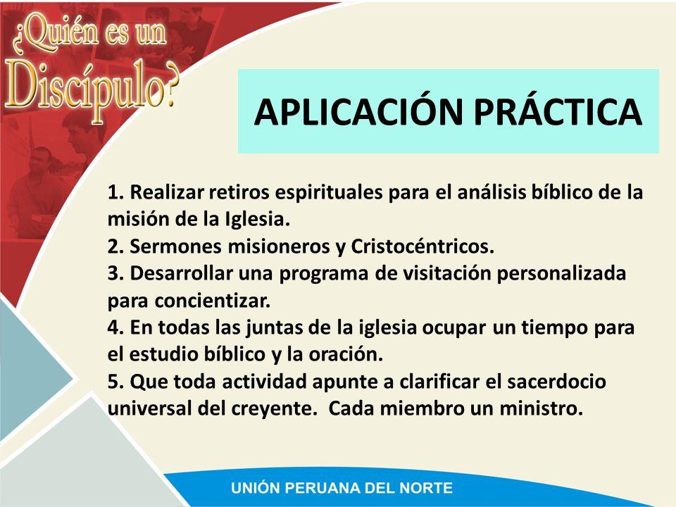 APLICACIÓN PRÁCTICA 1. Realizar retiros espirituales para el análisis bíblico de la misión de la Iglesia.