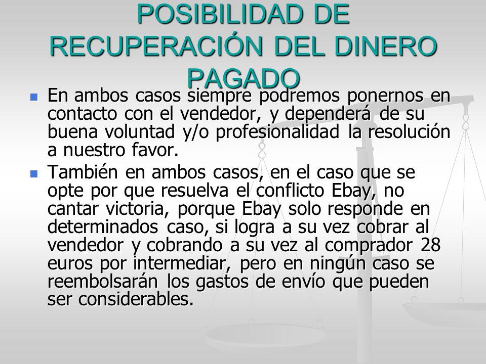 POSIBILIDAD DE RECUPERACIÓN DEL DINERO PAGADO