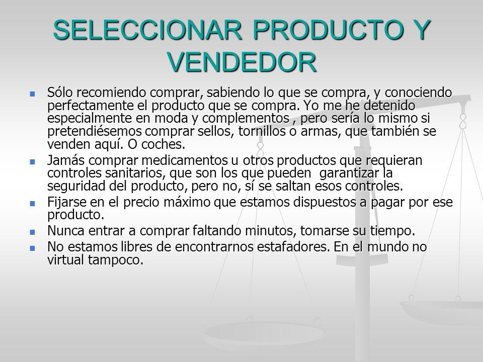 SELECCIONAR PRODUCTO Y VENDEDOR